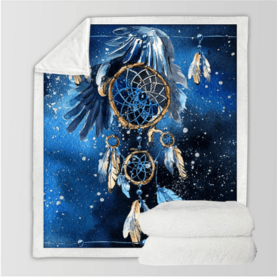 Dreamcatcher Blue Galaxy Throw Blanket Throw Blanket BeddingOutlet