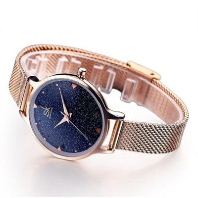 Elegant Quarts Women Rose Gold Watches Women Silver Watches SHENGKE