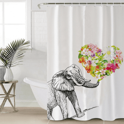 Elephant Flower Printed Shower Curtain Shower Curtains BeddingOutlet 90x180cm