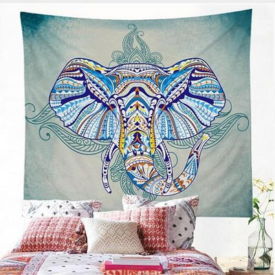 Elephant Wall Hanging Animal Twin Tapestry Tapestry BeddingOutlet 150 x 150 cm