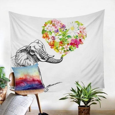 Elephant With Floral Tapestry Tapestry BeddingOutlet 130x150cm