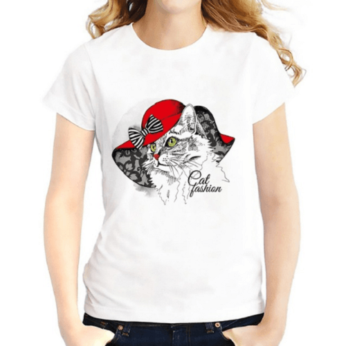 Fashion Cat Women T-Shirts Women T-Shirts JollyPeach S