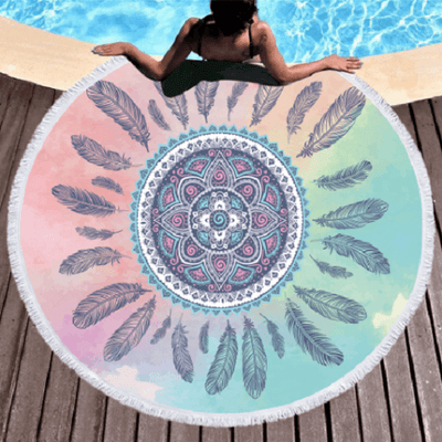 Feathers Tassel Mandala Round Towel Beach/Bath Towel BeddingOutlet Diameter 150cm