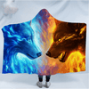 Fire and Ice Wolf Hooded Blanket Hooded Blanket BeddingOutlet Adults 150(H)x200(W)