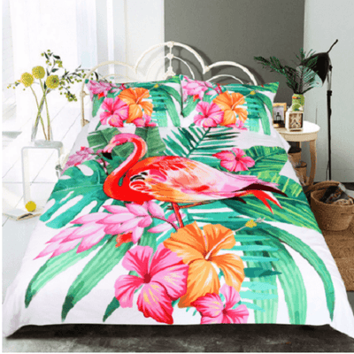 Flamingo Tropical Plant Quilt Cover Bedding covers BeddingOutlet Single