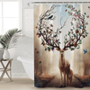 Floral Deer Elk Waterproof Bath Curtain Shower Curtains BeddingOutlet 90x180cm