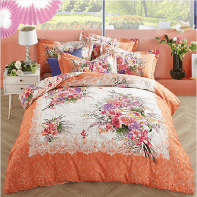Floral Garden Orange Bedding Set Embroidered Bed Set Svetanya Single