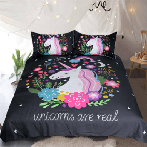 Floral Unicorns Bedding Set Bedding Cover Set BeddingOutlet Single