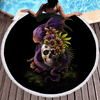Flowery Skull Round Beach Towel Beach/Bath Towel BeddingOutlet Diameter 150cm