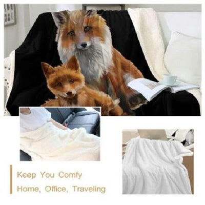Fox Mum & Cub Throw Blanket Throw Blanket BeddingOutlet