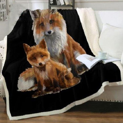 Fox Mum & Cub Throw Blanket Throw Blanket BeddingOutlet 75cmx100cm