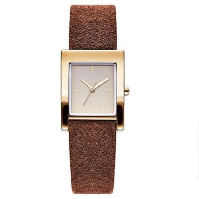 Genuine Leather Quartz Watch Lady Watches Women Silver Watches SHENGKE Brown