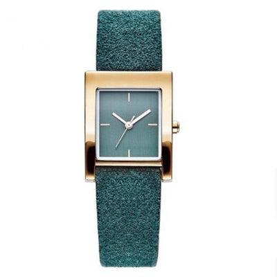 Genuine Leather Quartz Watch Lady Watches Women Silver Watches SHENGKE Green