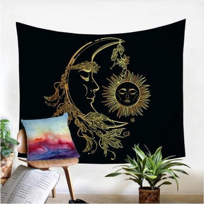 Gold Moon Accompany Sun Tapestry Tapestry BeddingOutlet 130x150cm