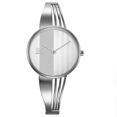 Gold-plated Women Wrist Watches Women Silver Watches SHENGKE Silver