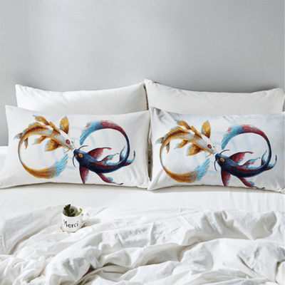 Golden and Blue Cyprinus Carp Duvet Cover Bedding covers BeddingOutlet