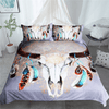 Gray Bohemian Floral Skulls Bedding Cover Bedding Cover Set BeddingOutlet Single