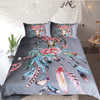 Gray Feathers Skulls Print Duvet Cover Bedding Cover Set BeddingOutlet Single