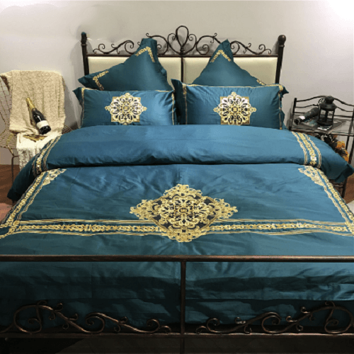 Green Embroidered Luxury Bed Linens Embroidered Bed Set Svetanya AU single