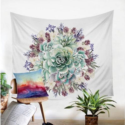 Green Succulents 3D Flower Plant Tapestry Tapestry BeddingOutlet 130x150cm
