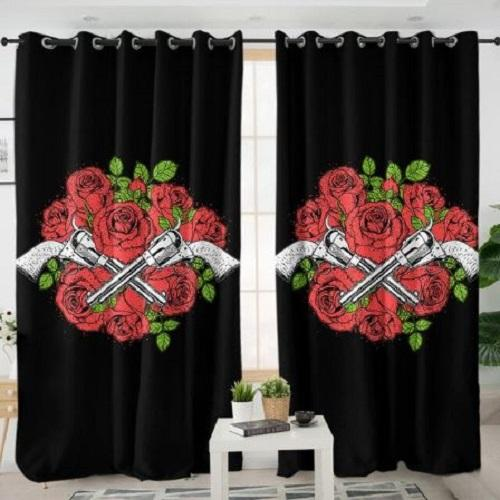Guns Roses Flower Living Room Curtain Window Curtain BeddingOutlet W100xH130cm