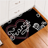 Heart Printed Black and White Door Mats Door & Floor Mats BeddingOutlet 40x60cm