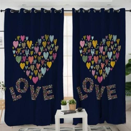 Heart Printed Living Room Curtain Window Curtain BeddingOutlet W100xH130cm