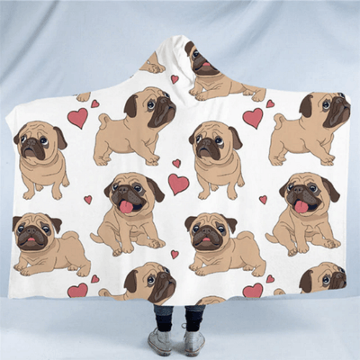 Hippie Pug Hooded Blanket Hooded Blanket BeddingOutlet Kids 127(H)x152(W)
