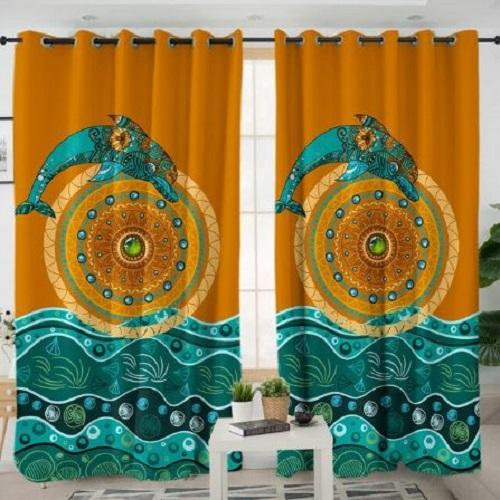 Jumping Dolphin Living Room Curtain Window Curtain BeddingOutlet W100xH130cm