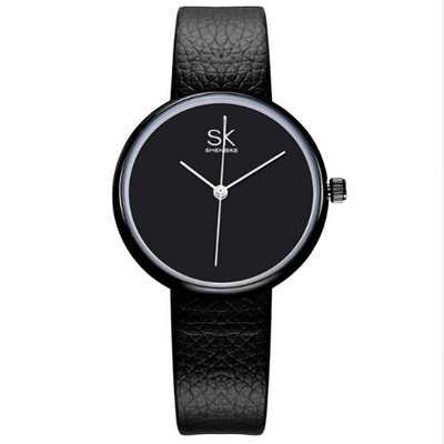 Leather Women Watch Causal Women Silver Watches SHENGKE Black