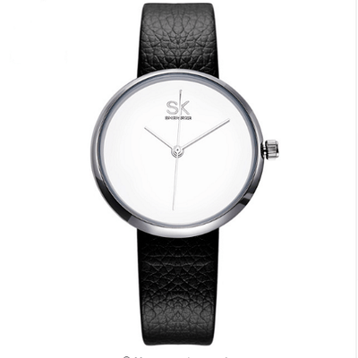 Leather Women Watch Causal Women Silver Watches SHENGKE White