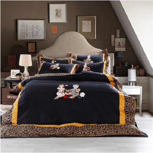 Leopard Embroidered Luxury Bedding Sets Embroidered Bed Set Svetanya Single