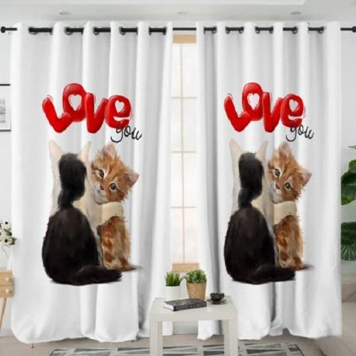 Lovely Cat Window Curtain Window Curtain BeddingOutlet W100xH130cm