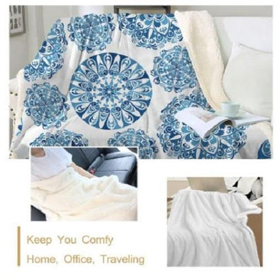 Mandala Indigo Throw Blanket Throw Blanket BeddingOutlet