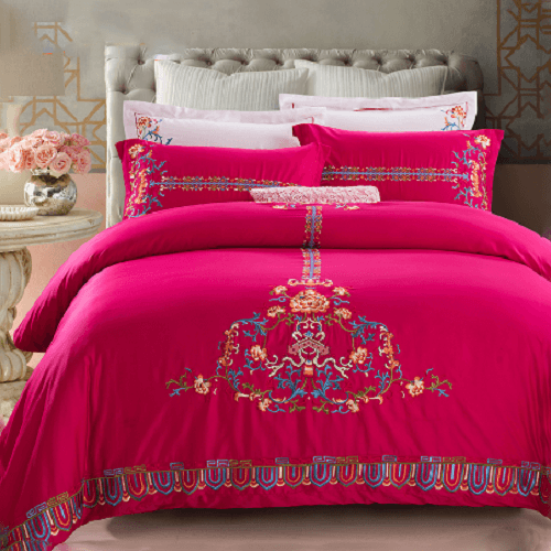 Maroon Embroidery Duvet Cover Sets Embroidered Bed Set Svetanya Single