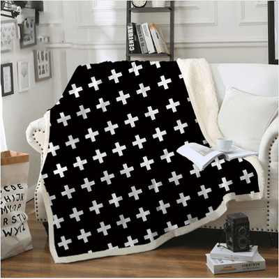 Modern White Cross Throw blanket Throw Blanket BeddingOutlet 130cmx150cm