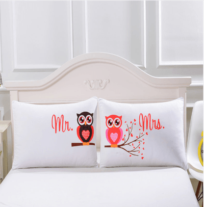 Mr and Mrs Owls Romantic Pillow Case Pillowcases BeddingOutlet