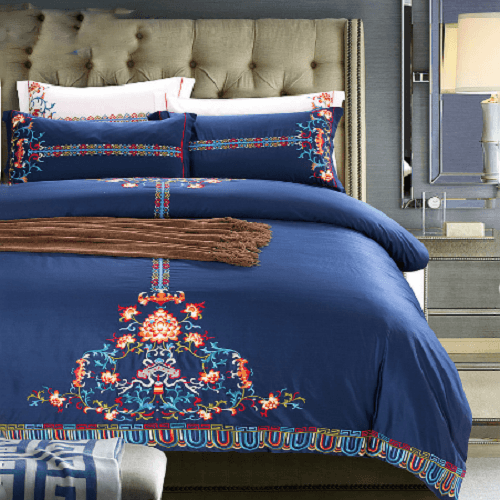 Navy Embroidery Duvet Cover Sets Embroidered Bed Set Svetanya AU single