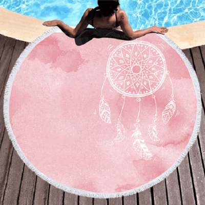 Pink Dreamcatcher Round Beach Towel Beach/Bath Towel BeddingOutlet Diameter 150cm
