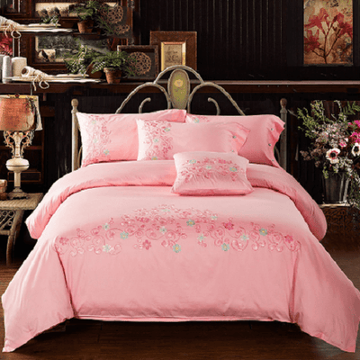 Pink Flowers Embroidered Duvet Cover Embroidered Bed Set Svetanya Single