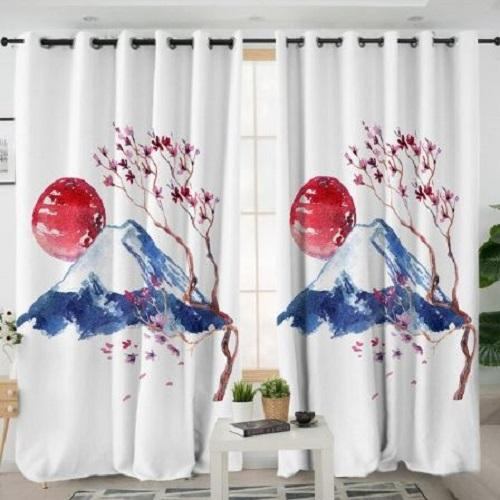 Pink Flowers Mountain Window Curtain Window Curtain BeddingOutlet W100xH130cm