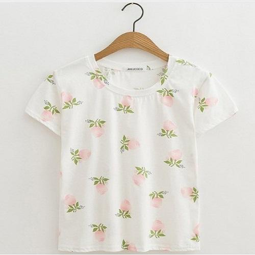 Pink Roses With Green Leafs Newest Style Print Tshirt Women T Shirts JKKUCOCO XS
