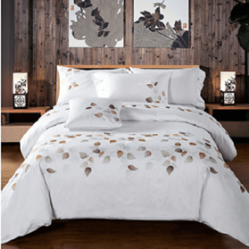 Plant Leaves Embroidered Bed Set Embroidered Bed Set Svetanya AU Queen