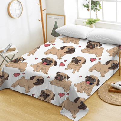 Pug Animal Cartoon Flat Sheet Bedding Covers Sheets BeddingOutlet Twin