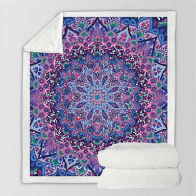 Purple Glowing Mandala Pattern Fleece Blanket Throw Blanket BeddingOutlet 130cmx150cm