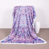 Purple Glowing Mandala Pattern Fleece Blanket Throw Blanket BeddingOutlet