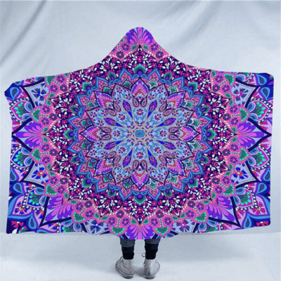 Purple Mandala Hooded Blanket Hooded Blanket BeddingOutlet Kids 127(H)x152(W)