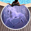 Purple Unicorn Beach Towel Beach/Bath Towel BeddingOutlet Diameter 150cm