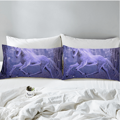 Purple Unicorns Printed Bedding Set Bedding Set BeddingOutlet