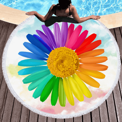 Rainbow Colors Floral Blanket Bath Towel Beach/Bath Towel BeddingOutlet Diameter 150cm